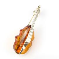 Broche violon argent ambre véritable BCM13 Cognac