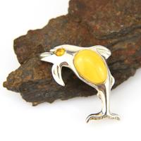 Broche dauphin argent ambre véritable BCM14 Jaune