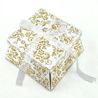 50 boîtes à gâteaux pour faire part mariage baptême motif floral BTC22 Paillette Doré
