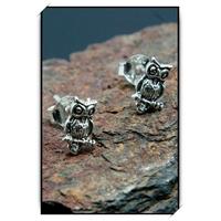 Boucles d'oreilles clous hibou chouette en argent BOA63