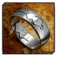 Bague acier motif double cœur BGS5