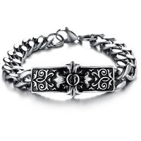 Bracelet homme acier croix fleur de lys gothique BRG3