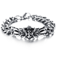 Bracelet homme acier croix celtique sur ailes gothique BRG4