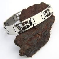 Bracelet acier homme motif croix fleur de lys BRSX7