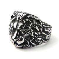 Bague acier tête de lion crinière gothique BGT4