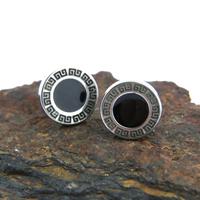 Boucles d'oreilles acier grecques onyx noir BOS71