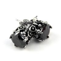 Paire boucle d'oreille acier griffe zircon noir gothique BOS73 Noir
