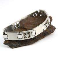 Bracelet acier homme motif feuille de cannabis BRSX9