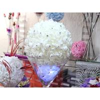 Boule de fleur artificielle avec des strass 25 cm diamètre BL25