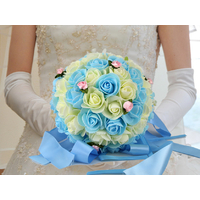Bouquet de la mariée bicolore BQT1 IVOIRE BLEUE