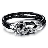 Bracelet serpent acier cuir tressé noir gothique BRGC2