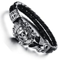 Bracelet tête de mort pirate acier cuir tressé noir gothique BRGC1