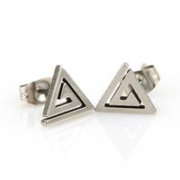 Boucles d'oreilles acier clou spirale triangle bo homme BOS74