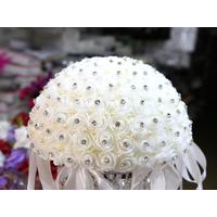 Demi boule de fleur artificielle avec des strass 25cm BLD25