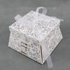 50 boîtes à gâteaux pour faire part mariage baptême motif floral BTC22 Paillette Argenté