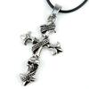 Pendentif acier croix gothique et tête de mort style rockeur biker PSG1