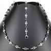 Parure collier + bracelet maillons grains de café noir acier homme PRS17