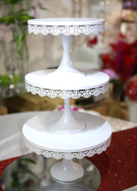 Lot de 3 pr sentoirs support g teau mariage en m tal - Presentoire gateau mariage ...