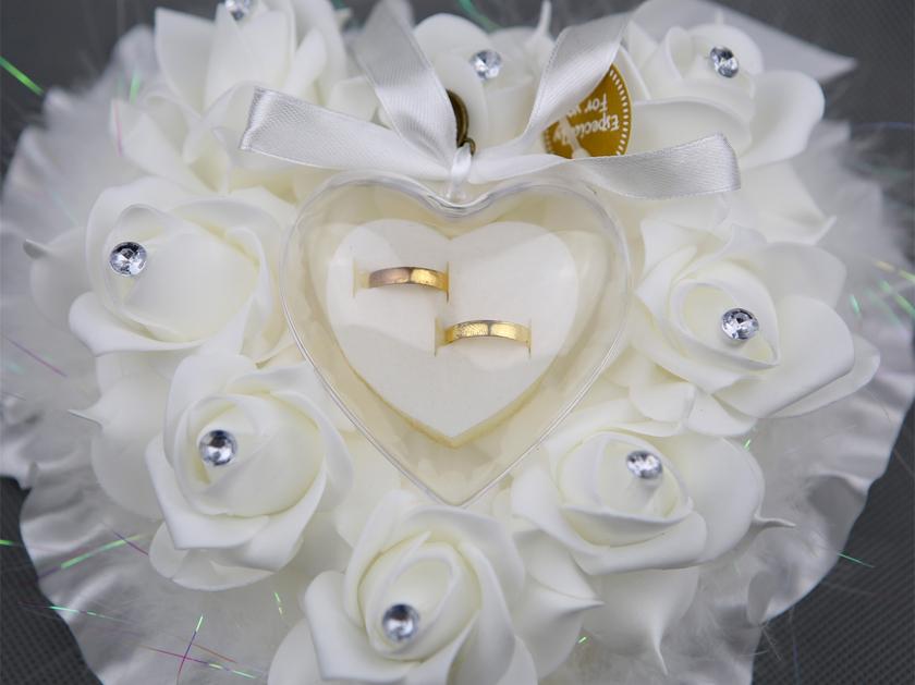 Coussin Porte Alliances Forme Cœur Plume Plat Rigide Mariage MCA - Porte alliance mariage