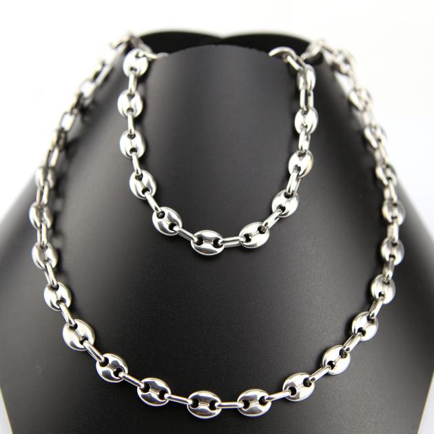 parure collier bracelet acier maille grain de caf homme prs8 bijoux parure acier cadoshop. Black Bedroom Furniture Sets. Home Design Ideas