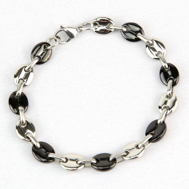 Bracelet maillons grains de caf noir acier homme brsg19 - Gourmette graine de cafe argent ...