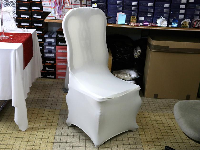 10 housse de chaise blanche en tissu lastique lycra universelle hdc1 mariage bapt me f te. Black Bedroom Furniture Sets. Home Design Ideas