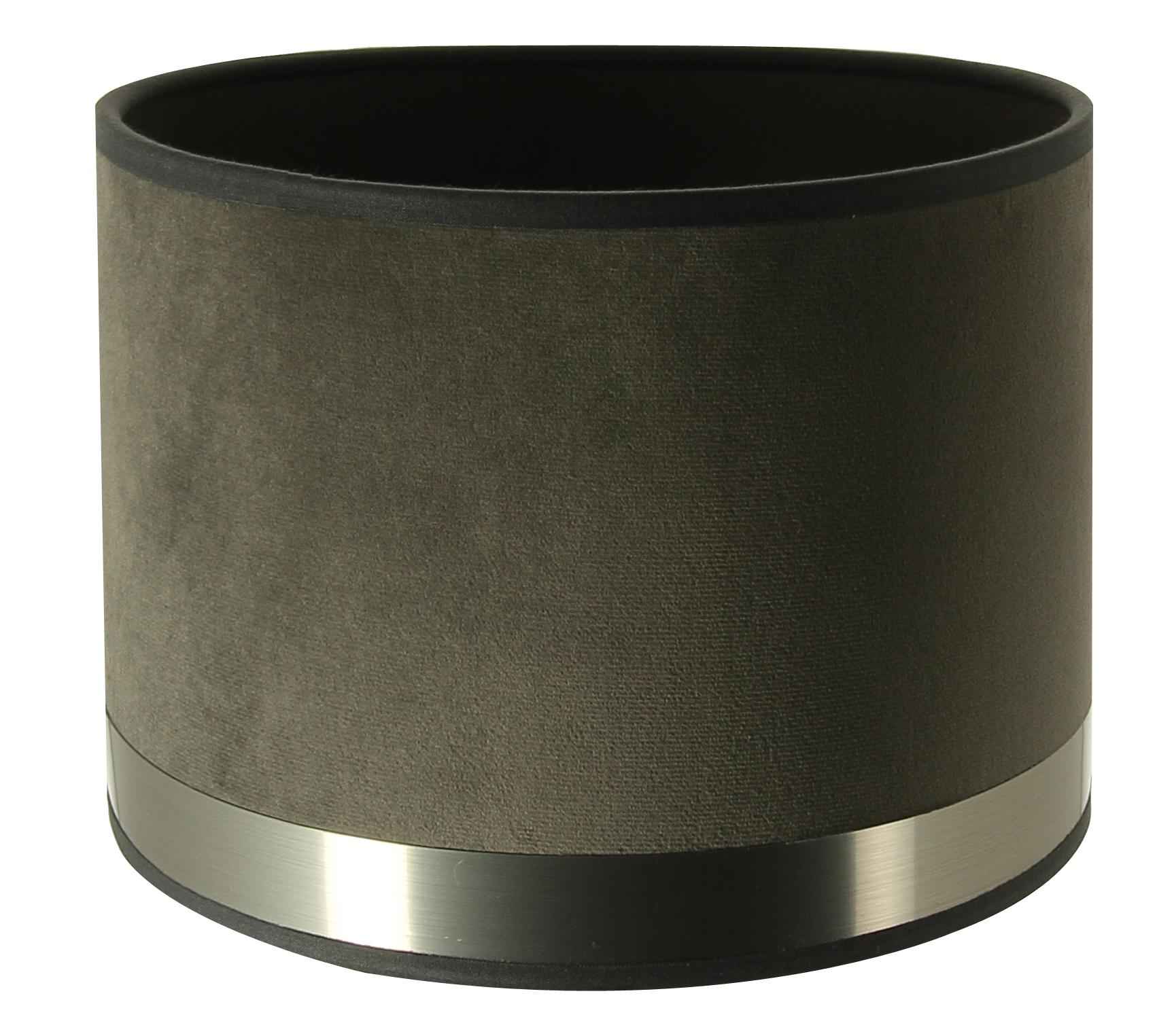 Abat-jour cylindre Art Déco gris et acier brossé