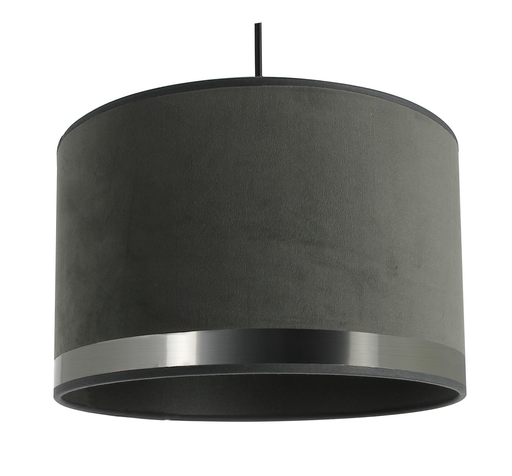 Suspension Art Deco grise et acier brossé