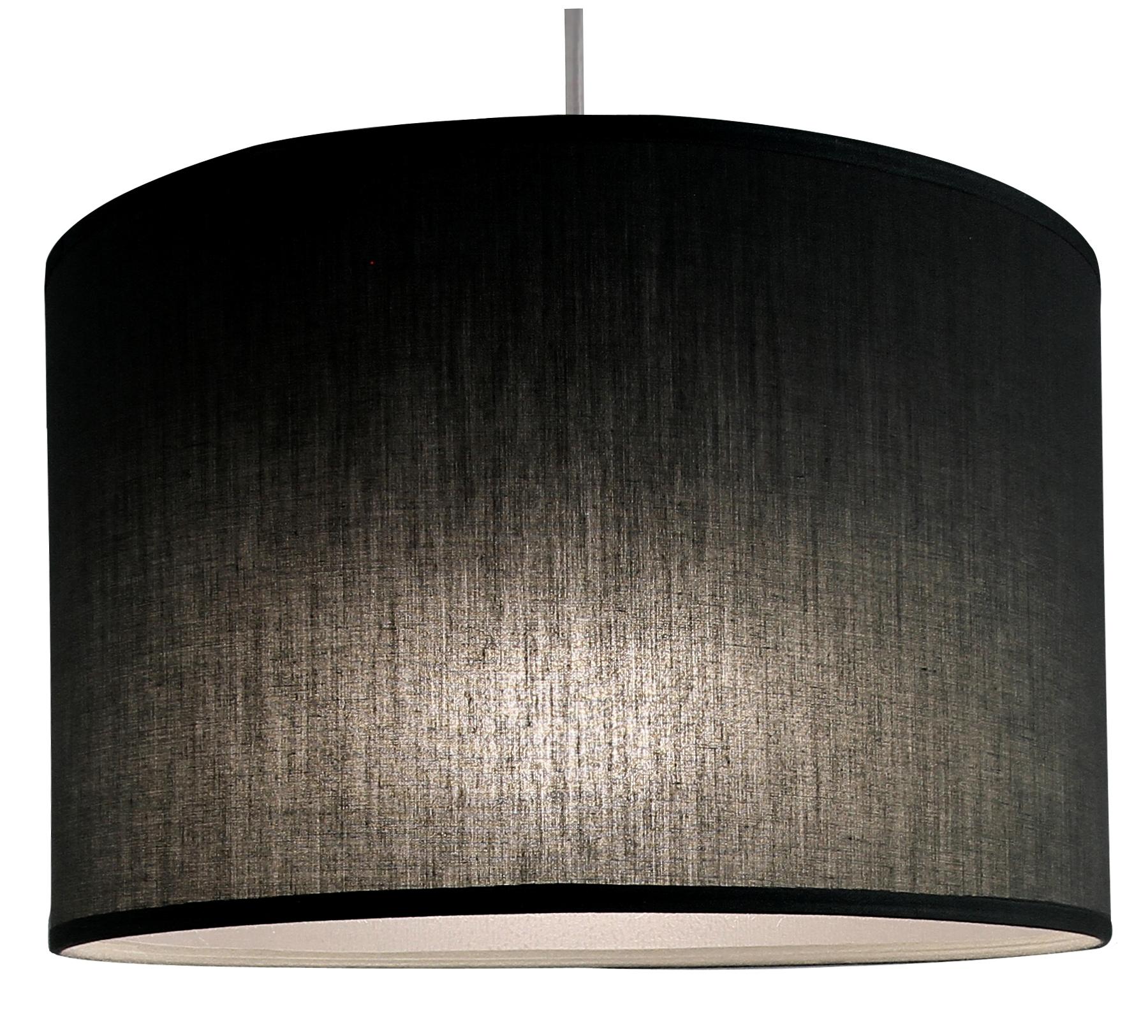 Suspension cylindre noir transparent, 29 cm
