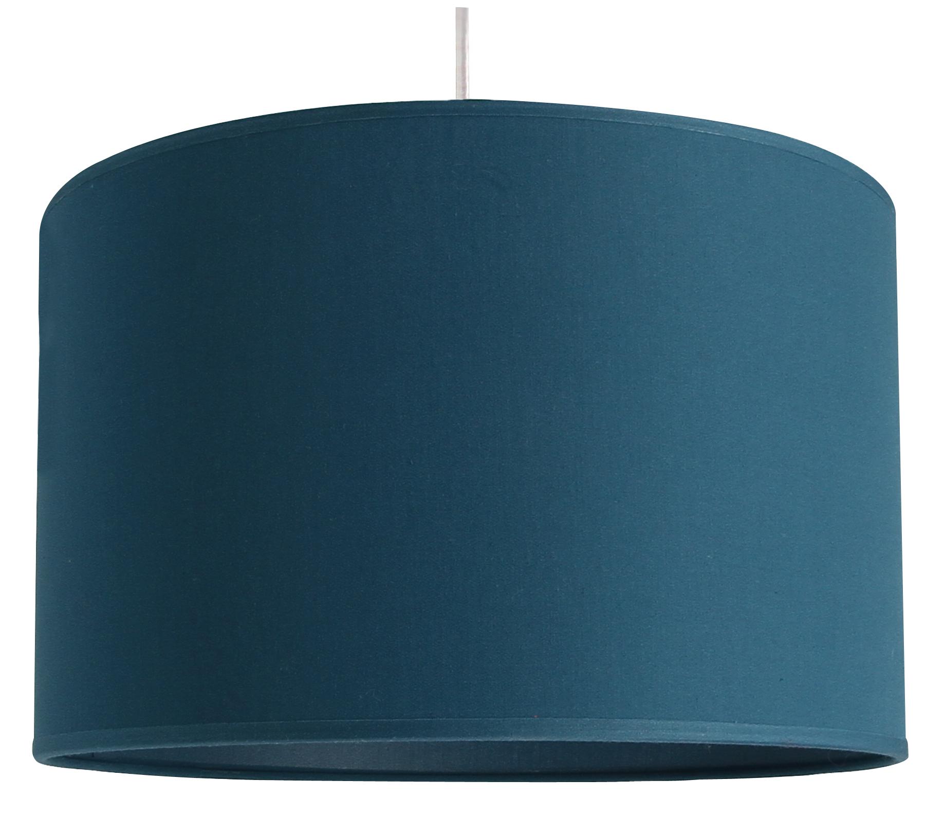 Suspension cylindre bleu canard transparent, 29 cm