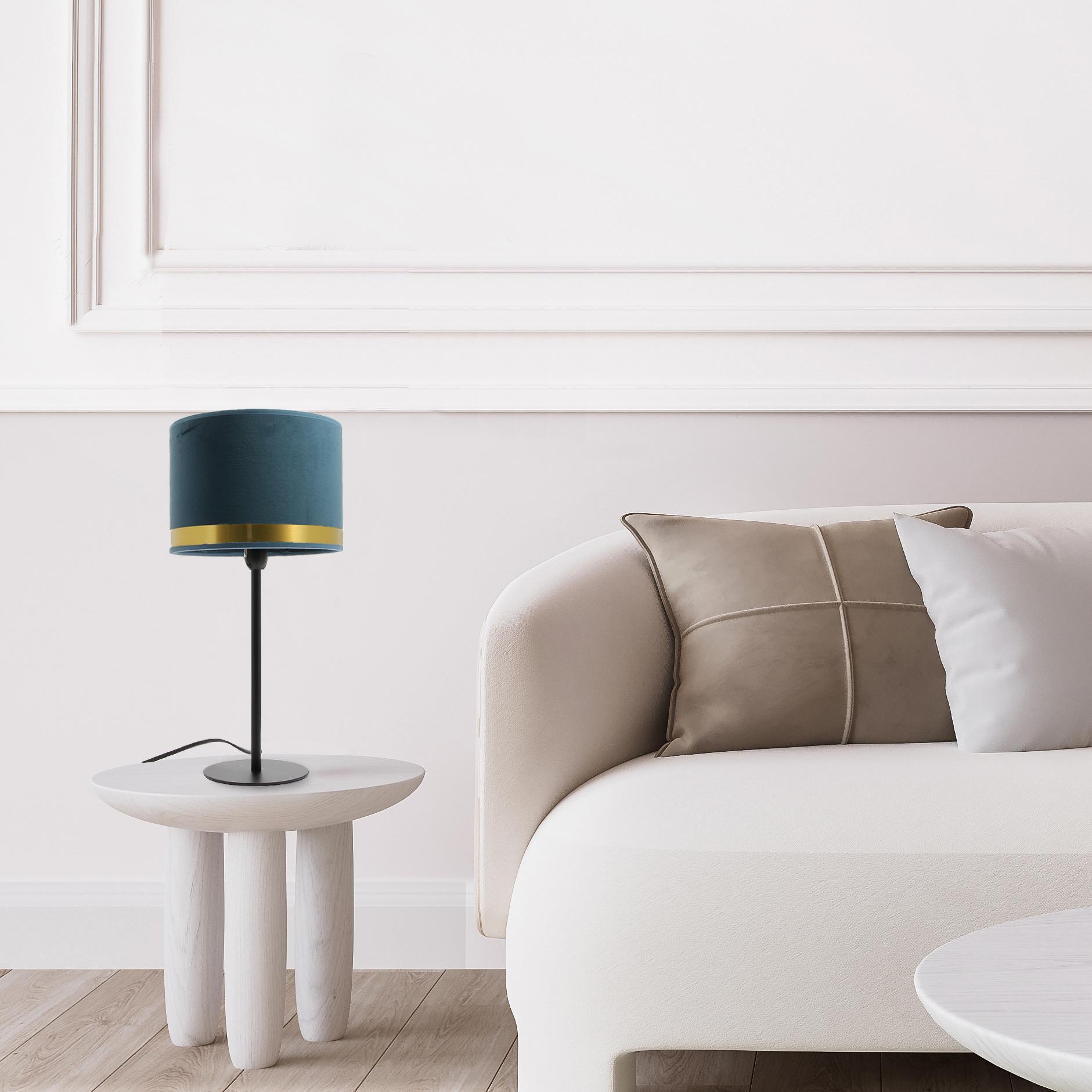 Lampe Max Art Déco Bleue / Laiton