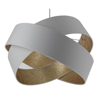 Suspension Saturne 48 cm blanche et or froissé
