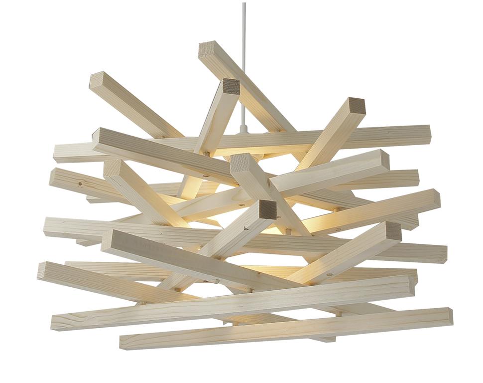Suspension bois nid allumée
