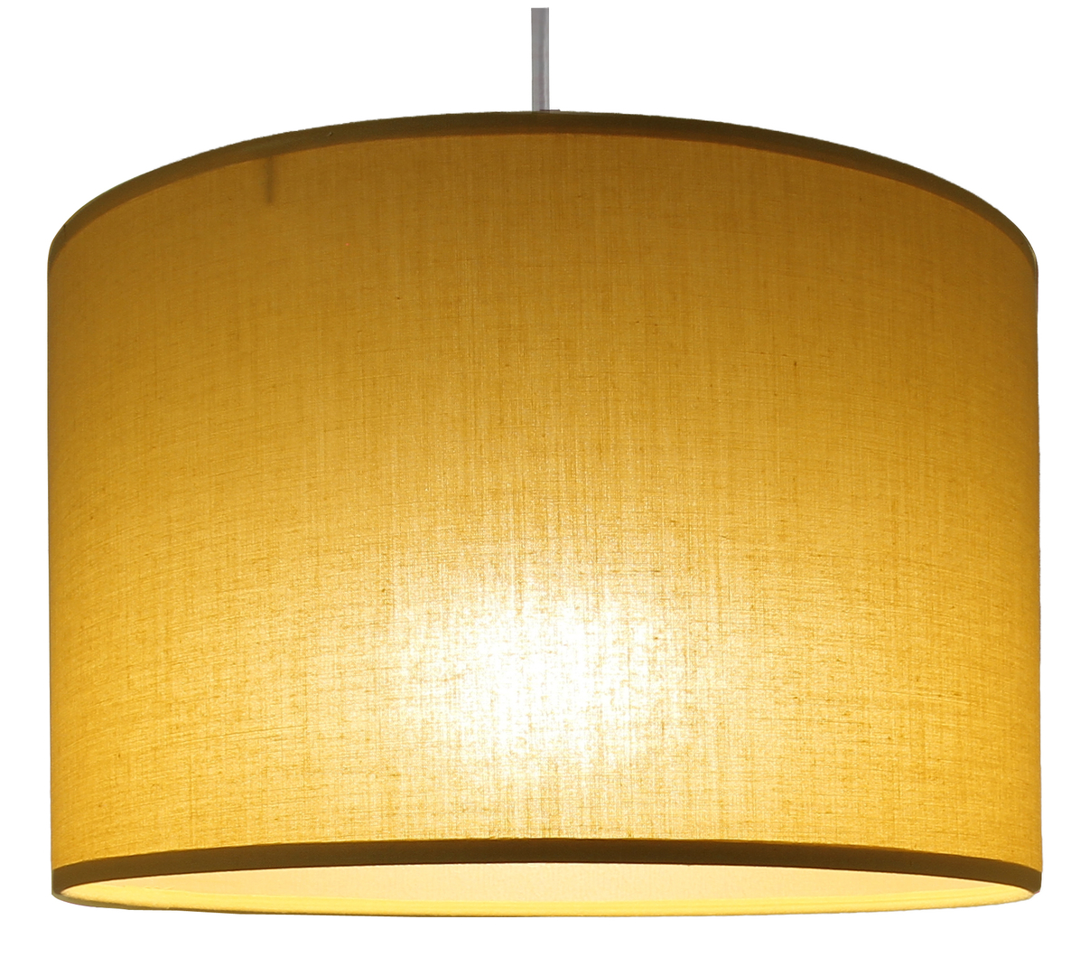 Suspension cylindre jaune moutarde transparent éclairée
