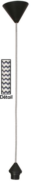 cordon de suspension en tissu blanc et noir