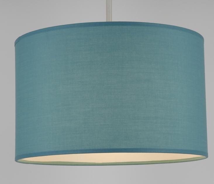 Suspension cylindre bleu lagon éclairée