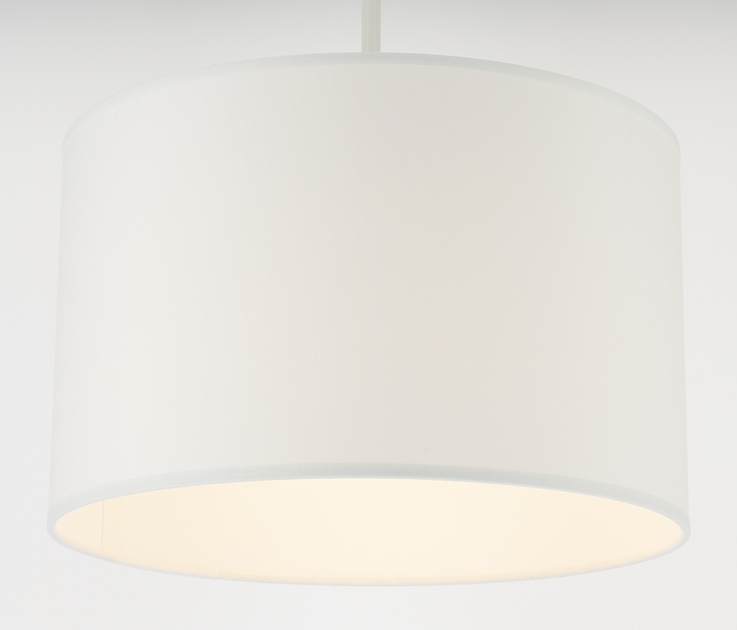Suspension cylindre cotonette blanc éclairée