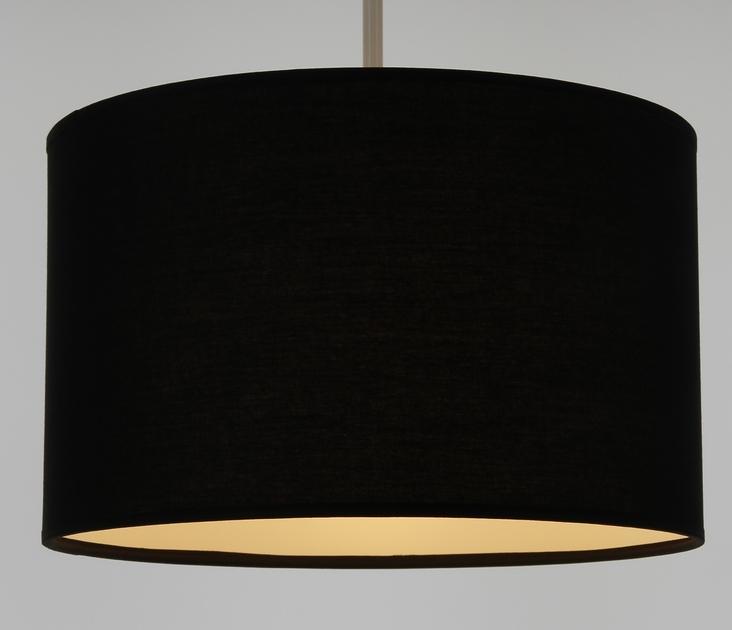 Suspension cylindre noir éclairée