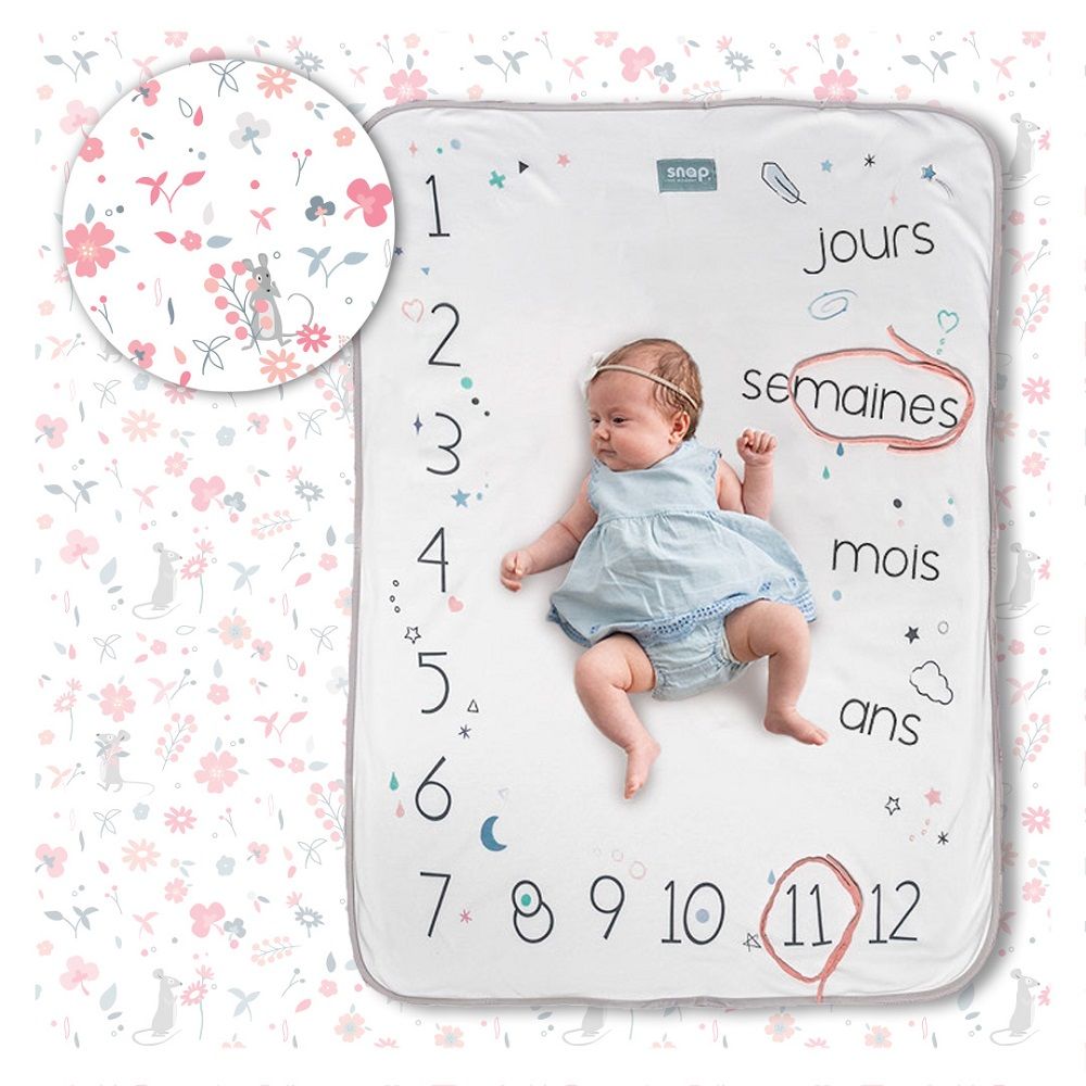 couverture bébé photobooth Snap th moment Rosy White