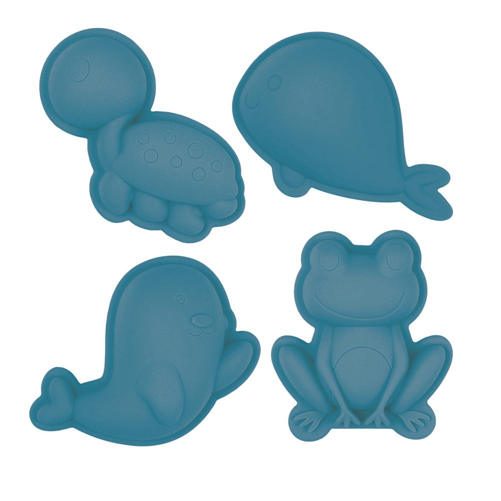 Set de 4 moules de plage en silicone - Scrunch - bleu