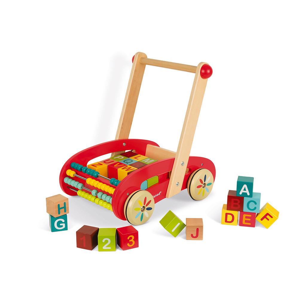 Chariot ABC Buggy Tatoo - 30 cubes - jouet en bois Janod