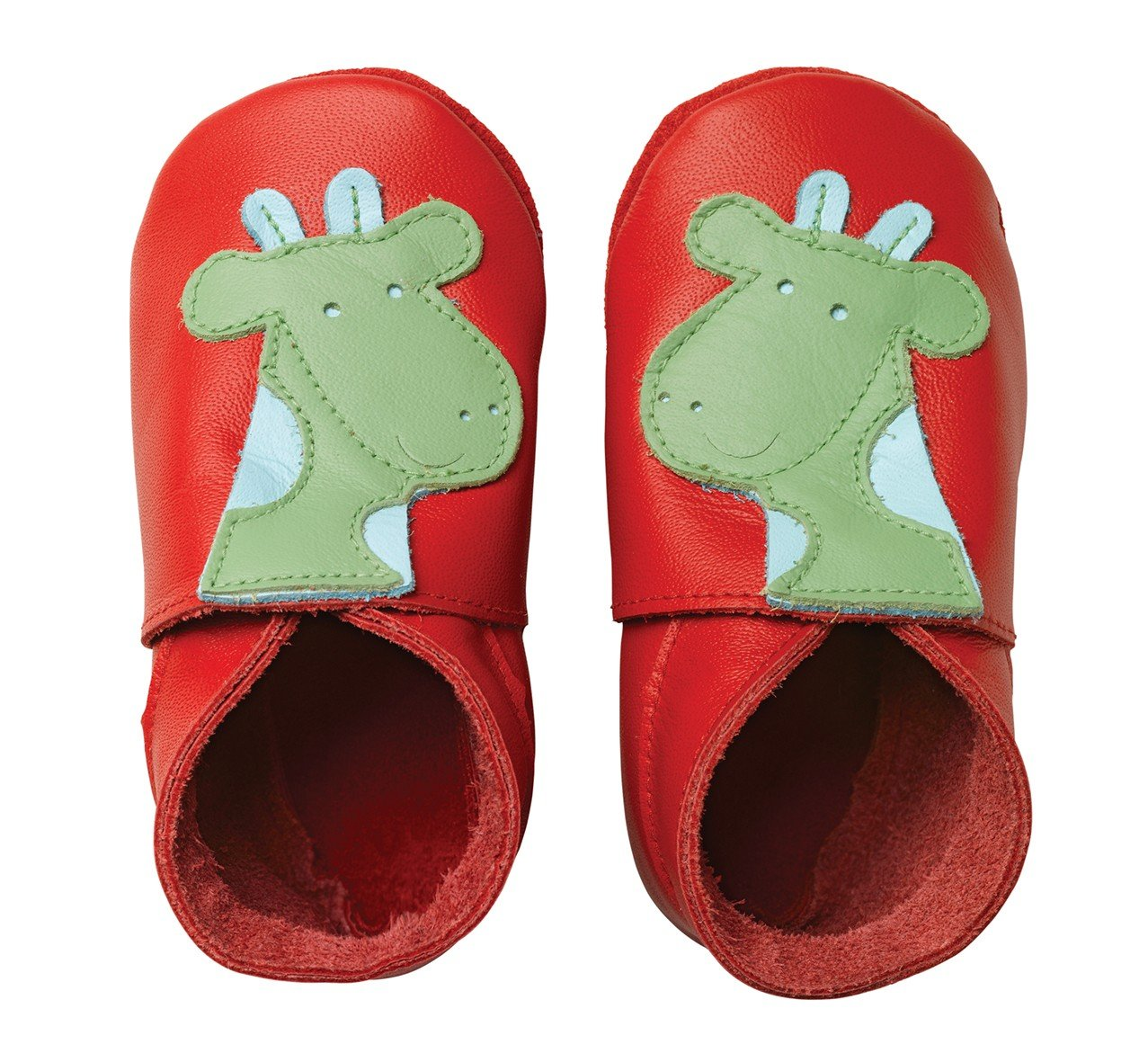 Chaussons en cuir Bobux girafe rouge