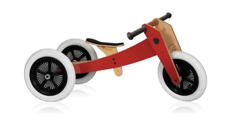 Wishbone Bike Rouge 3 en 1 - Draisienne en Bois Evolutive
