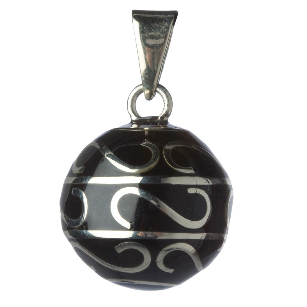 Collier de Grossesse - Bola volutes argentées noires