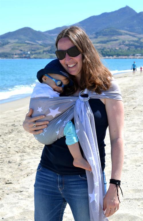 porte bébé sling sukkiri gris étoiles blanches
