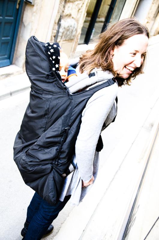 couverture porte bébé dorsal lucky noire 3 en 1