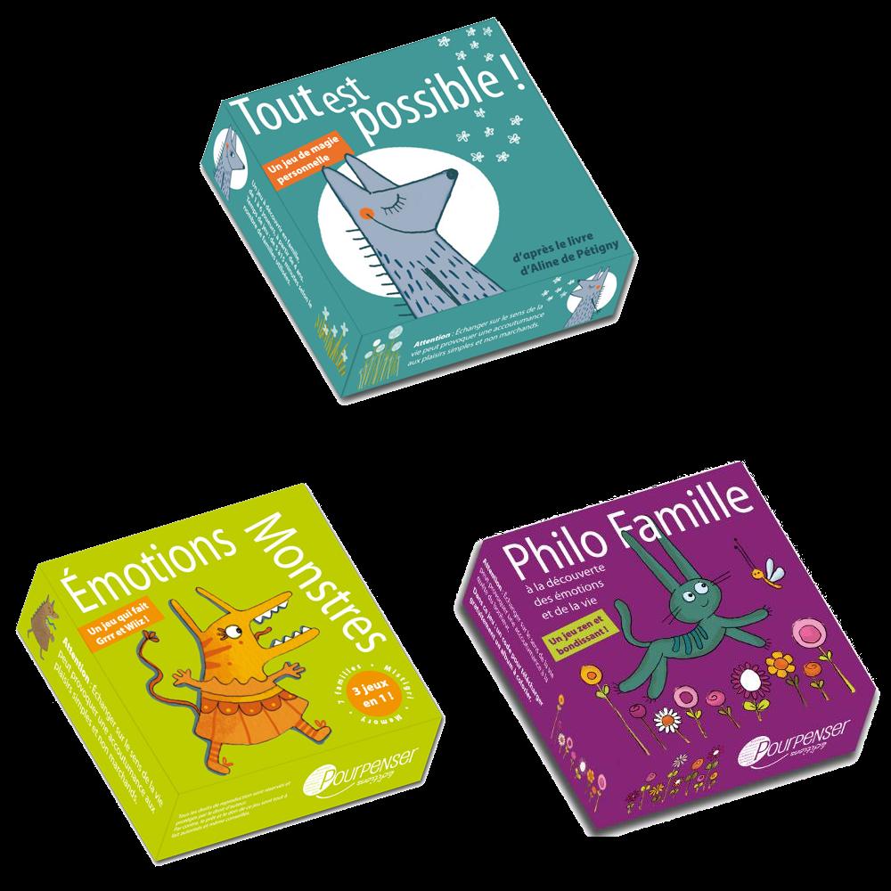 3 jeux de cartes Pourpenser