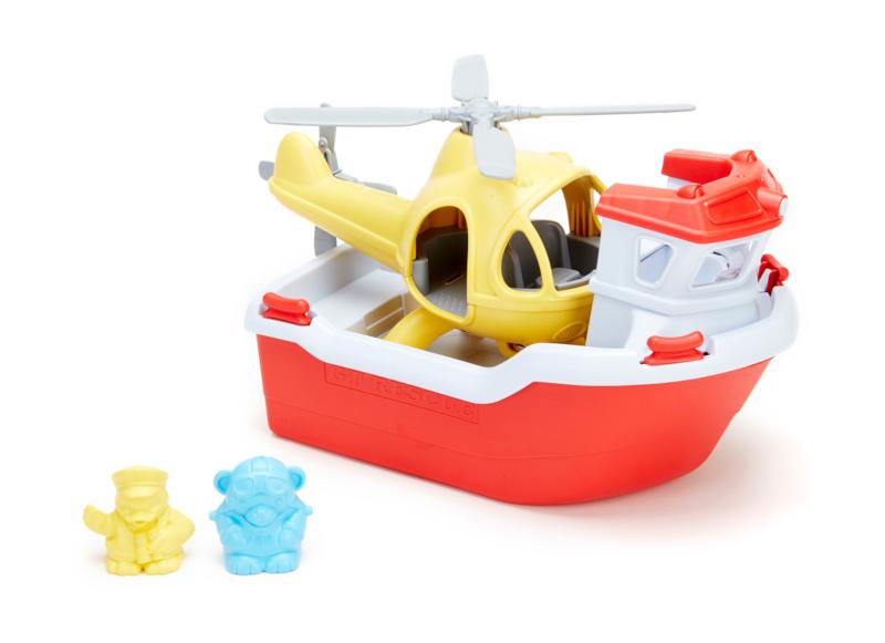 Bateau de sauvetage et hélicoptère- Green Toys