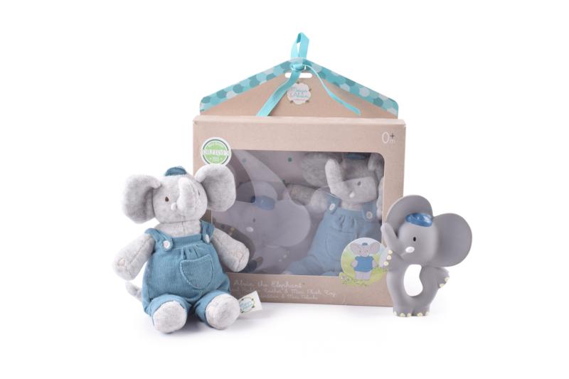 Jouet de dentition et peluche Alvin L\'éléphant - Meiya & Alvin