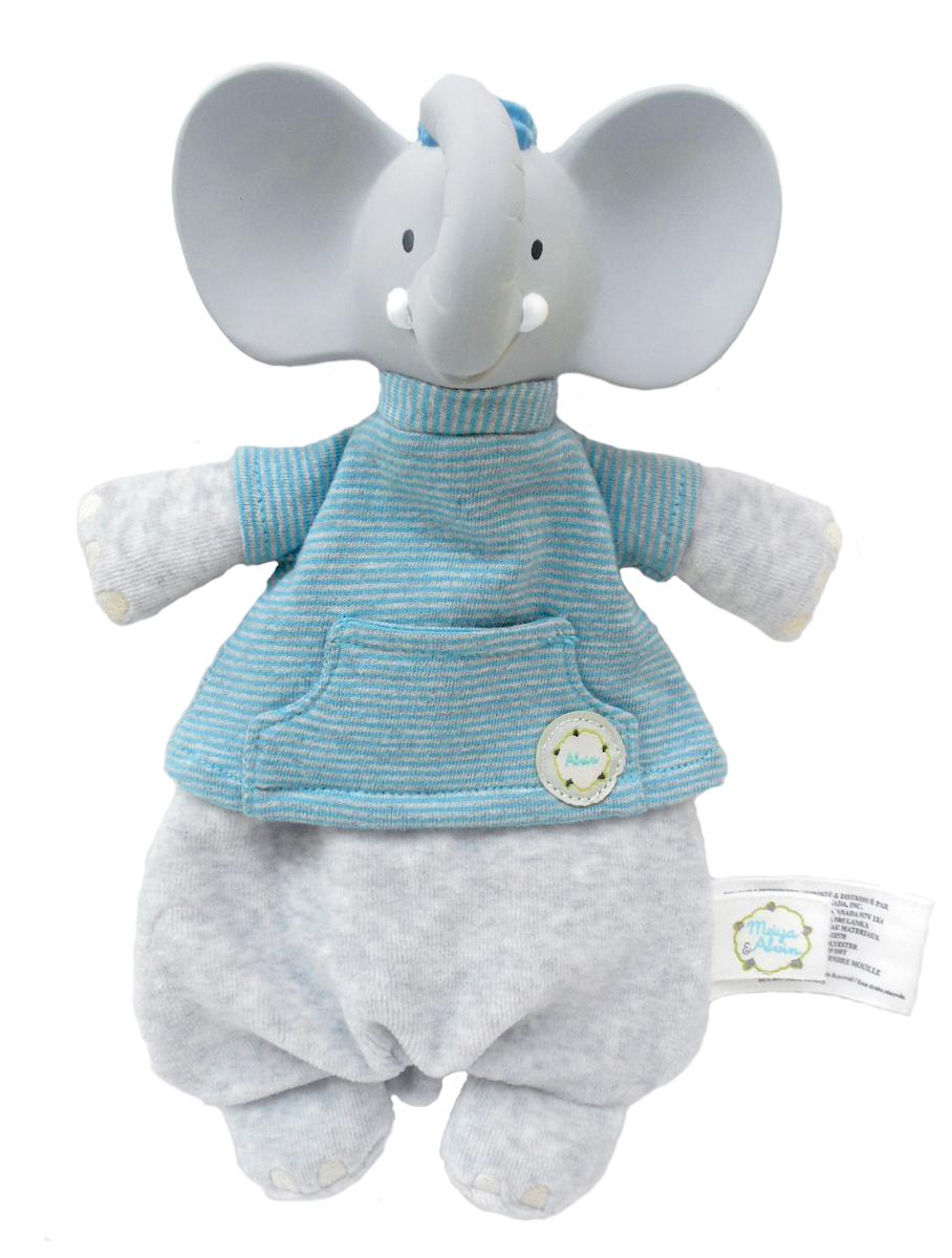 Eléphant Alvin : Doudou avec tête en caoutchouc naturel